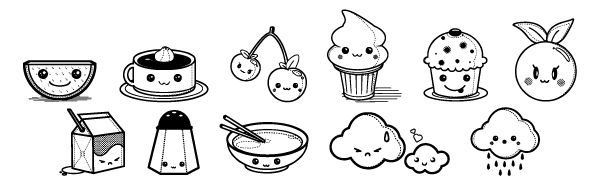 Kawaii coloring pages of foods printable