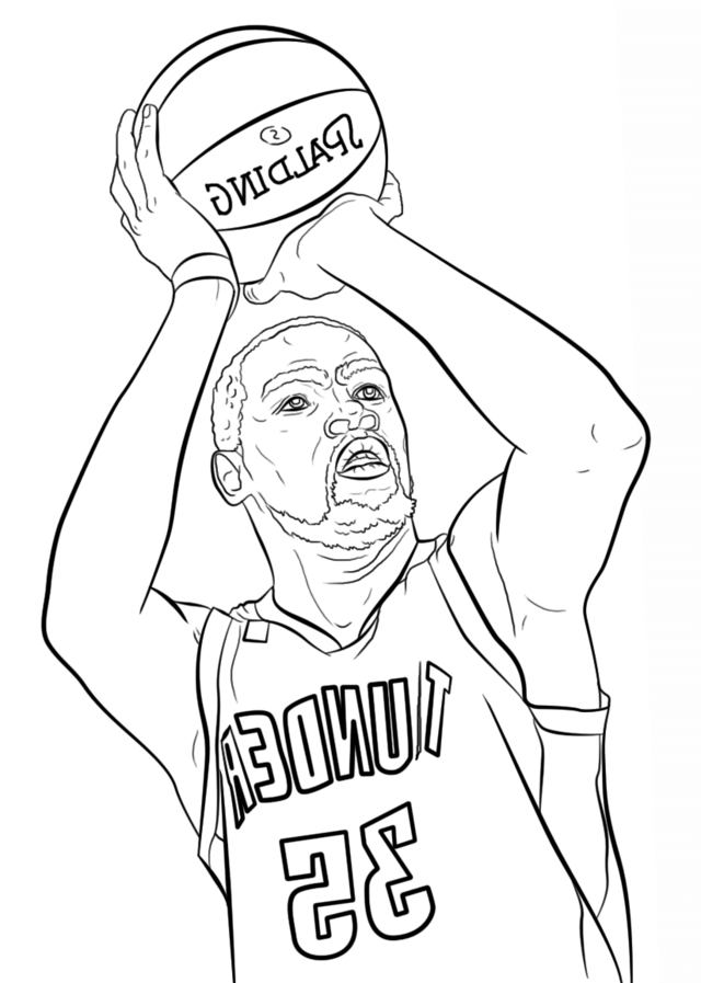 Kevin Durant Spalding Coloring Page