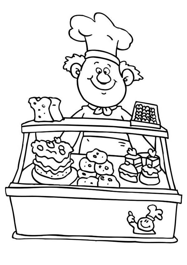 Selling Cake at Bakery Coloring Page