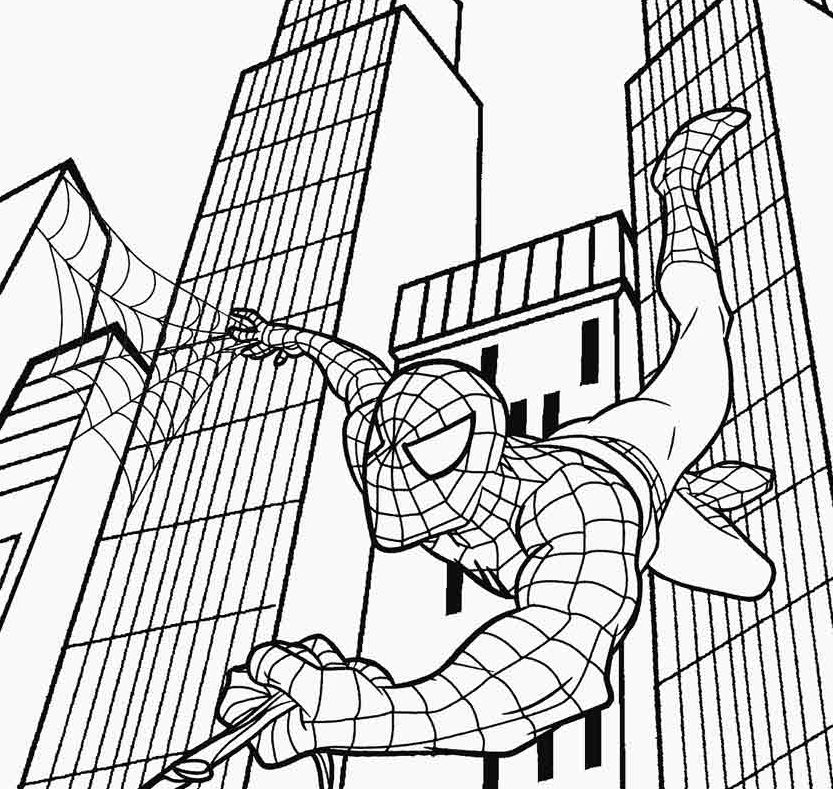 Spiderman Flying Coloring Pages