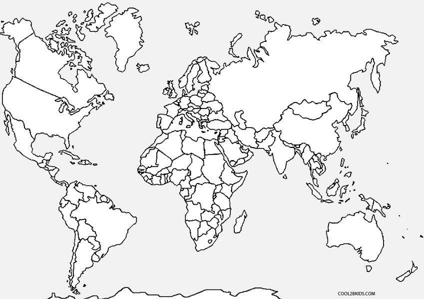 World Map Coloring Pages for Teenagers