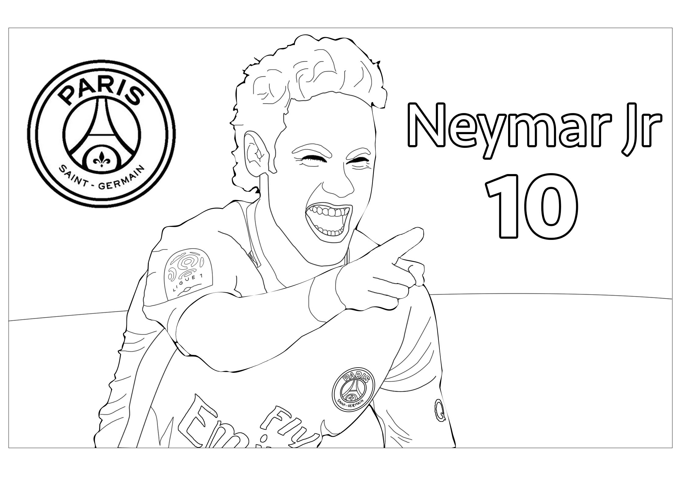neymar psg number 10 coloring page