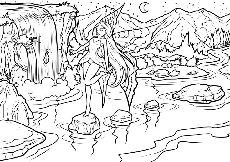 Online Waterfall Coloring Pages Best Coloring Pages For