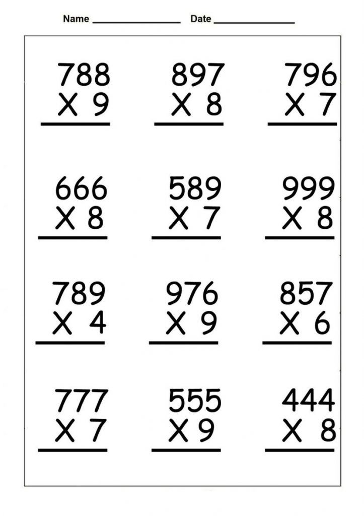 simple 4th Grade Multiplication Worksheets - Best Coloring Pages Fo... for adults