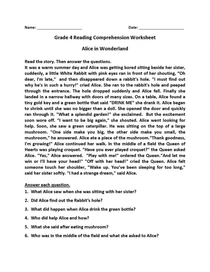 for kids 4th Grade Reading Comprehension Worksheets - Best Coloring P... free printable