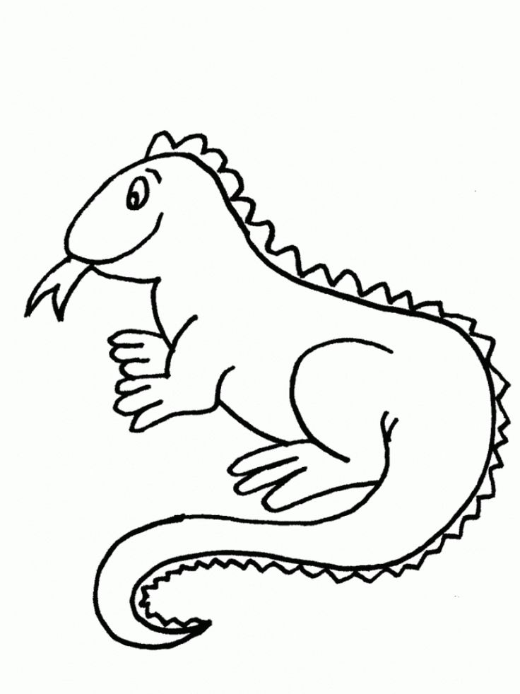 already colored Free Printable Iguana Coloring Pages For Kids for toddlers