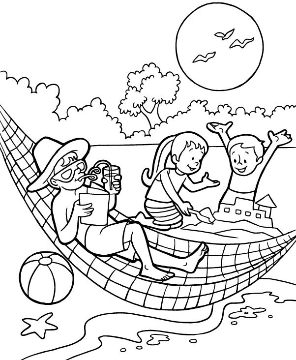 pdf Beach Coloring Pages - Beach Scenes & Activities easy