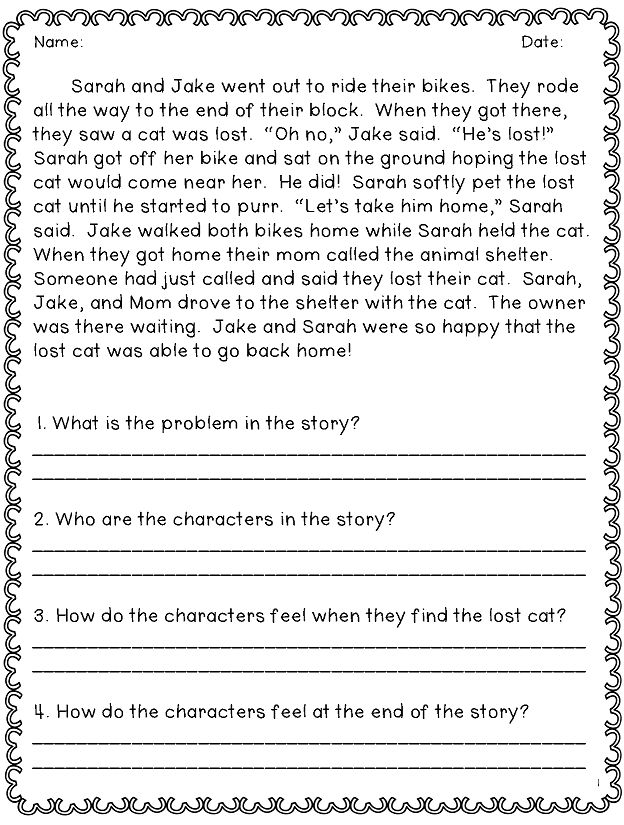 for toddlers Reading Comprehension Worksheets - Best Coloring Pages For K... simple