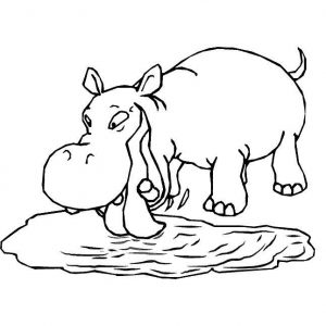 for toddlers Free Printable Hippo Coloring Pages For Kids easy