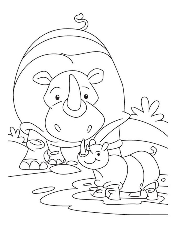 for teens Free Printable Rhinoceros Coloring Pages For Kids already colored
