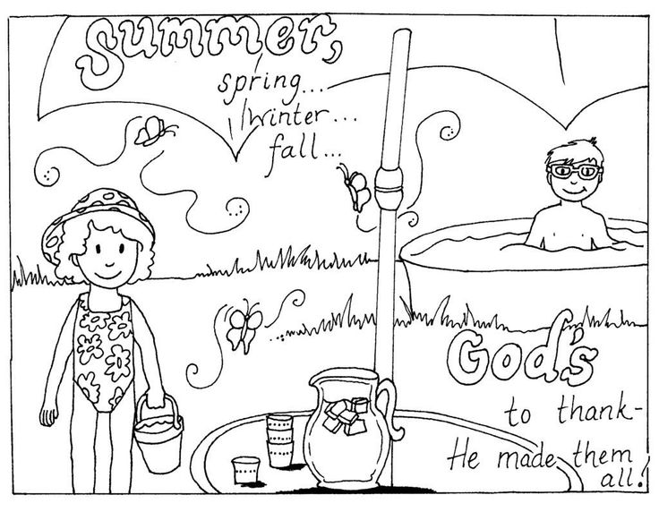 for sunday school Summer Coloring Pages for Kids. Print them All for Free. preschool