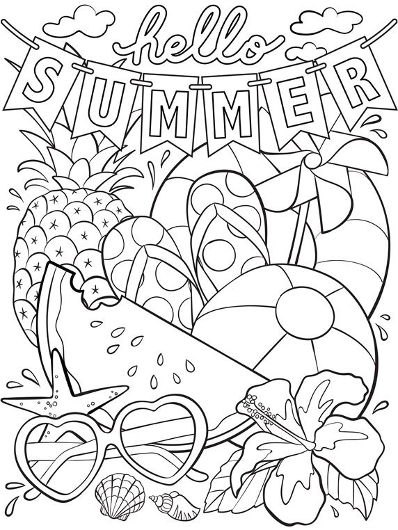 preschool Summer Coloring Pages for Kids. Print them All for Free. printable