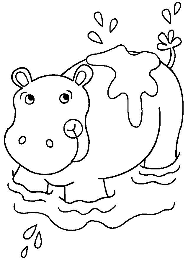simple Free Printable Hippo Coloring Pages For Kids for kindergarten