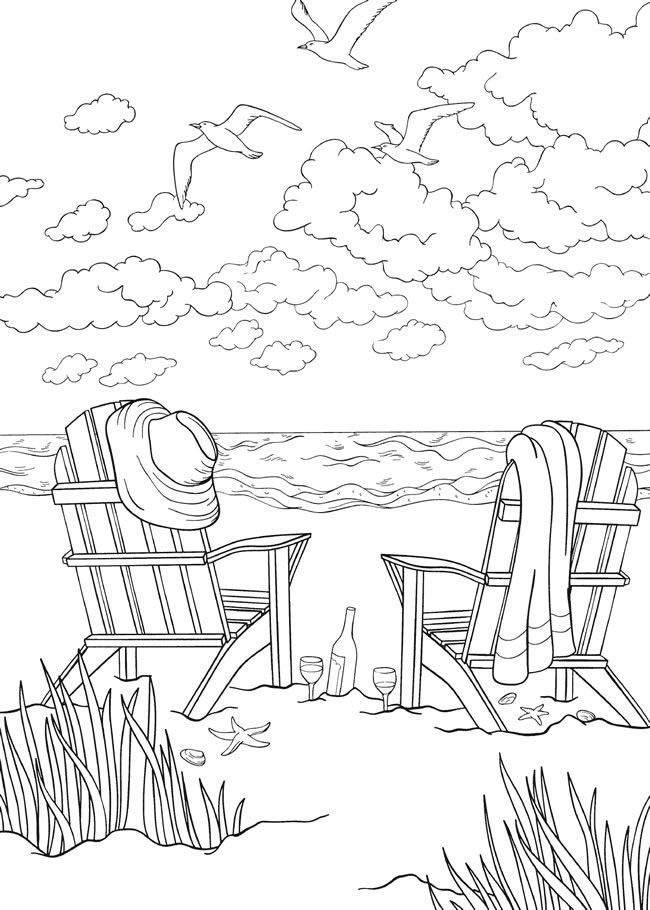 for teens Beach Coloring Pages - Beach Scenes & Activities printable