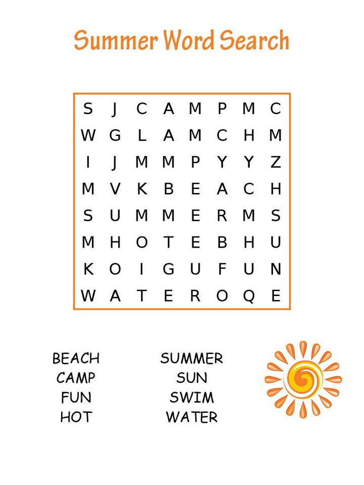 toddler Summer Word Search Puzzles - Best Coloring Pages For Kids for boys