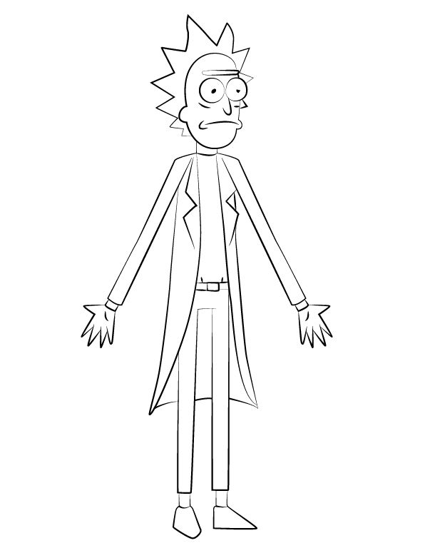 easy Rick and Morty Coloring Pages - Best Coloring Pages For Kids for toddlers
