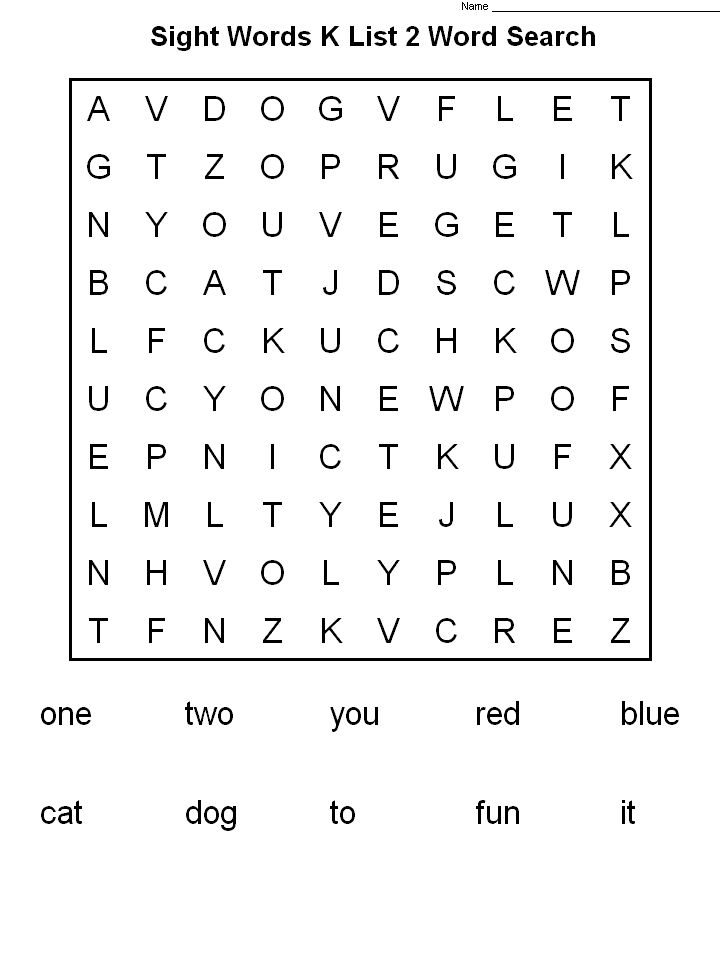 preschool 2nd Grade Word Search - Best Coloring Pages For Kids online