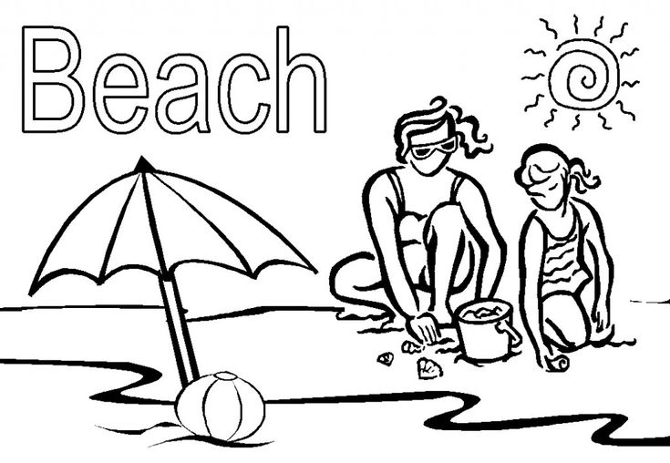 free Beach Coloring Pages - Beach Scenes & Activities printable
