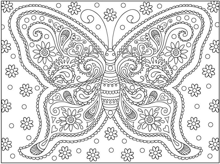 easy Butterfly Coloring Pages for Adults - Best Coloring Pages Fo... already colored