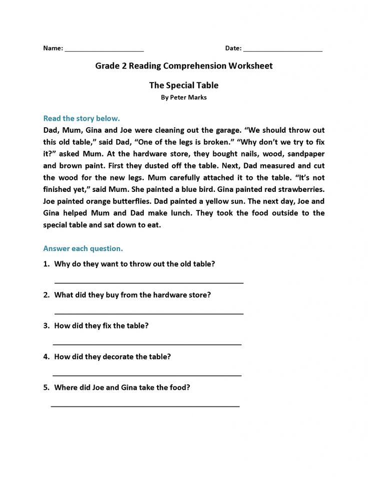 free printable 2nd Grade Reading Worksheets - Best Coloring Pages For Kids to print out