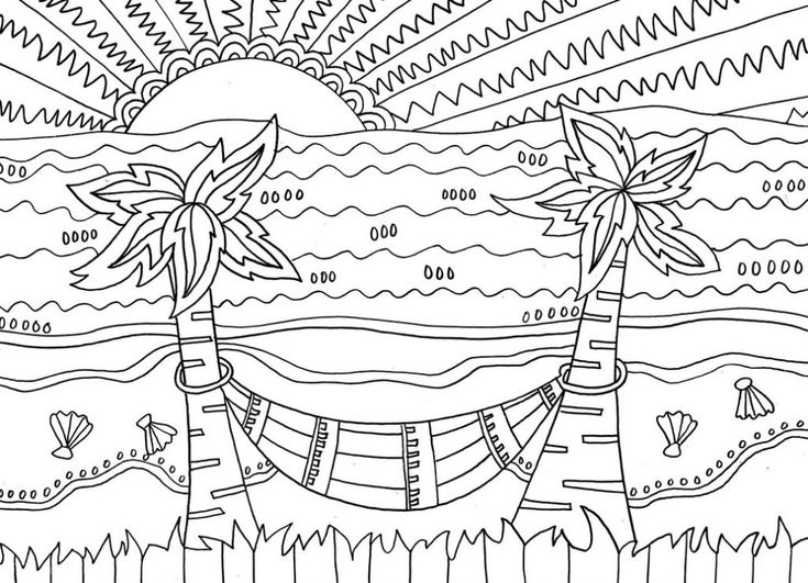 for girls Beach Coloring Pages – Beach Scenes & Activities free printable