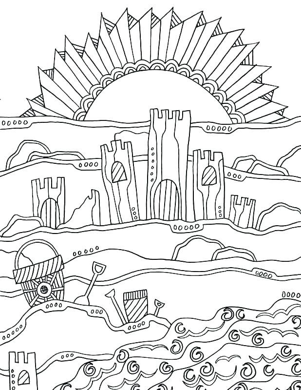 easy Beach Coloring Pages - Beach Scenes & Activities already colored