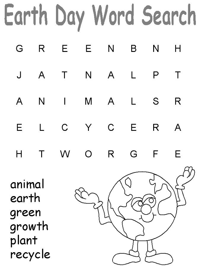 simple Earth Day Word Search - Best Coloring Pages For Kids preschool