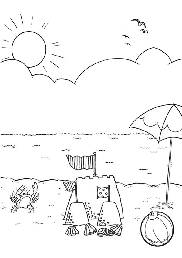 for toddlers Beach Coloring Pages - Beach Scenes & Activities online