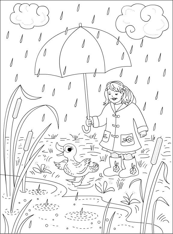 simple Rain Coloring Pages - Best Coloring Pages For Kids for adults
