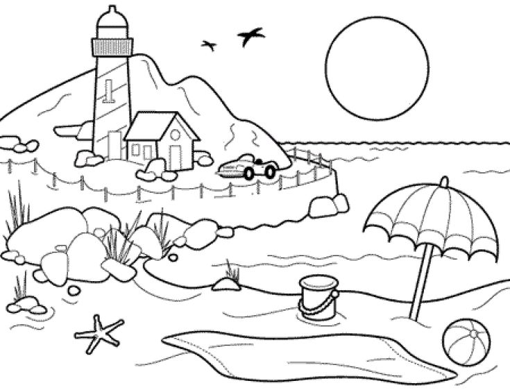 for toddlers Beach Coloring Pages - Beach Scenes & Activities for girls