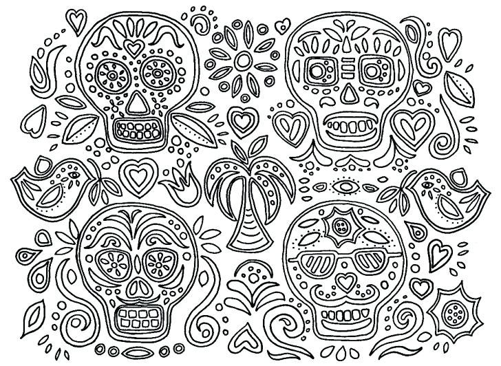 easy Skull Coloring Pages for Adults - Best Coloring Pages For Ki... for adults