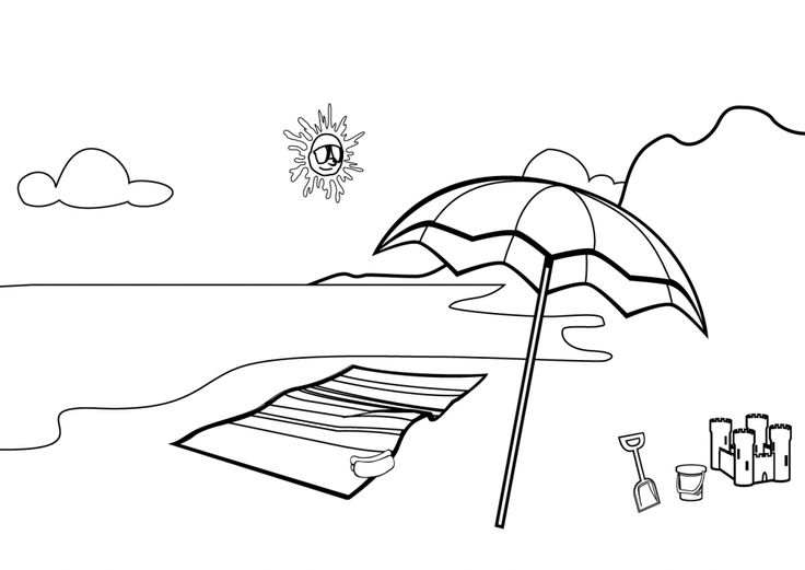 pdf Beach Coloring Pages - Beach Scenes & Activities free printable