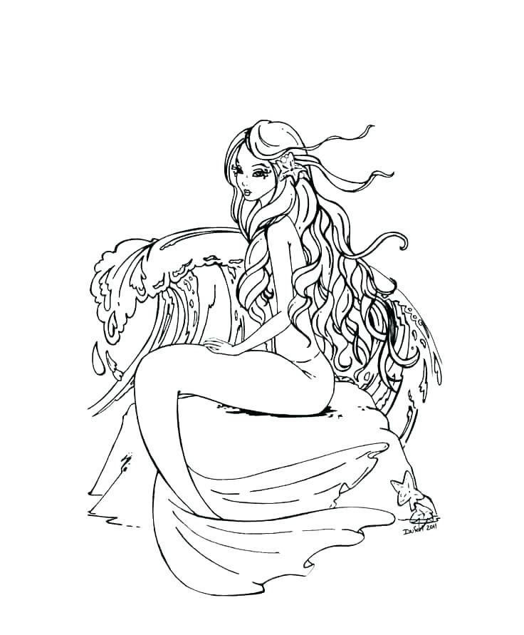 for kindergarten Mermaid coloring pages for adults online