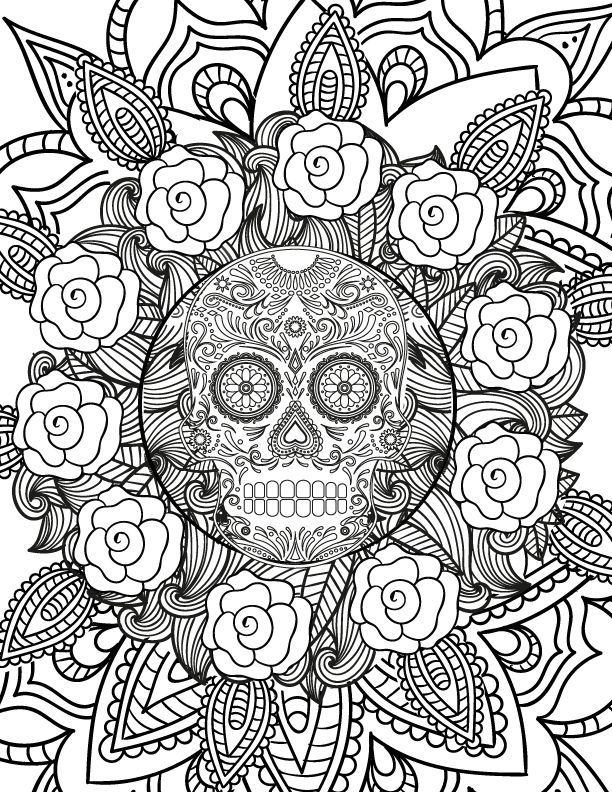 already colored Skull Coloring Pages for Adults - Best Coloring Pages For Ki... for sunday school