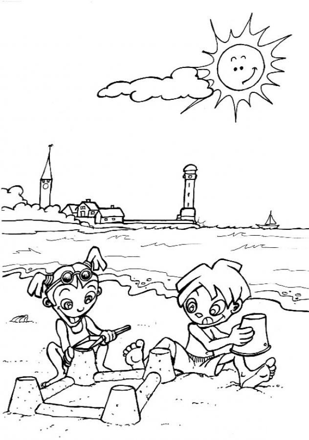 simple Beach Coloring Pages - Beach Scenes & Activities for adults