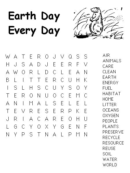 for kindergarten Earth Day Word Search - Best Coloring Pages For Kids free
