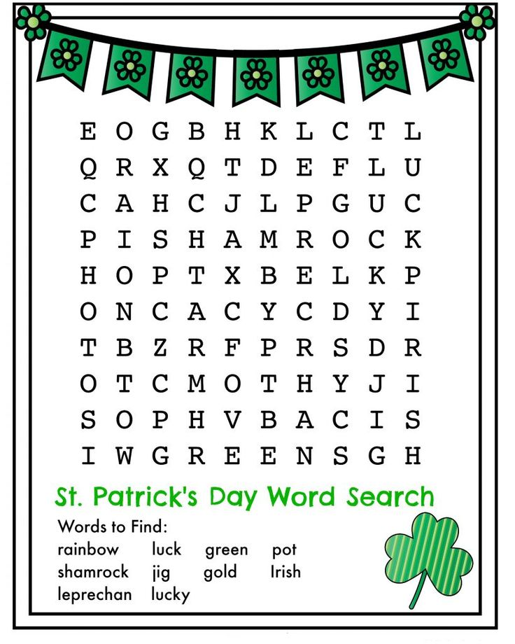 for teens St Patricks Day Word Search - Best Coloring Pages For Kids simple