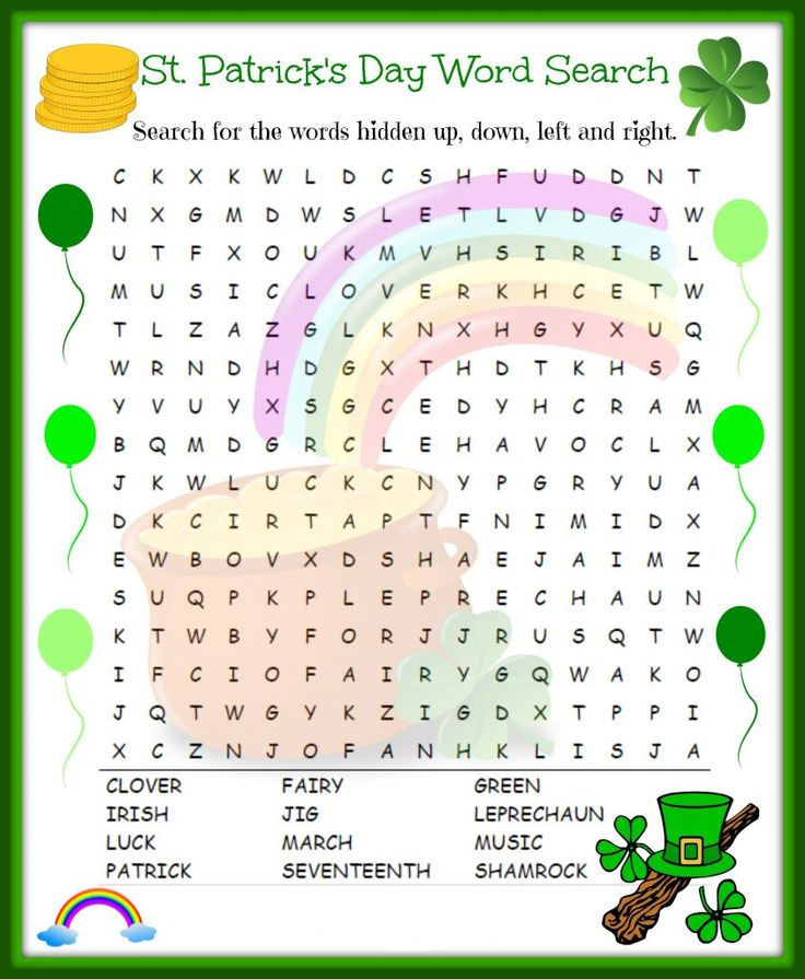 free printable St Patricks Day Word Search - Best Coloring Pages For Kids for girls