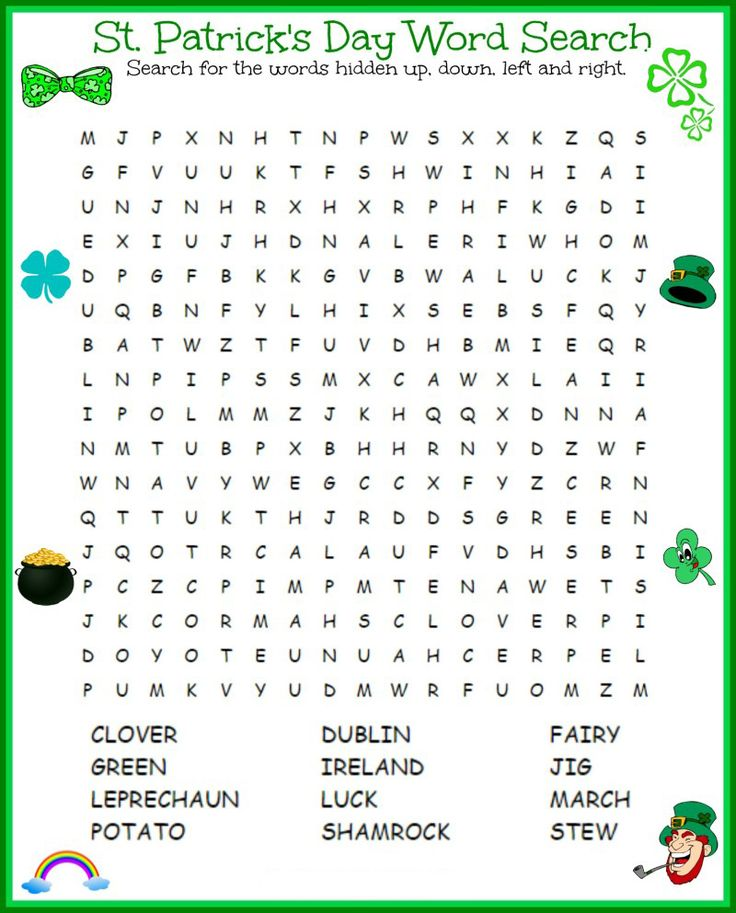 for girls St Patricks Day Word Search - Best Coloring Pages For Kids for boys