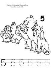 Number 5 Worksheet Tracing and Coloring | Learning Printable