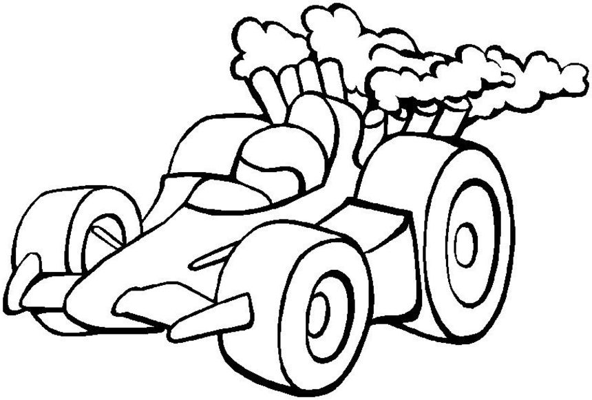 Simple Race Car Coloring Pages 01